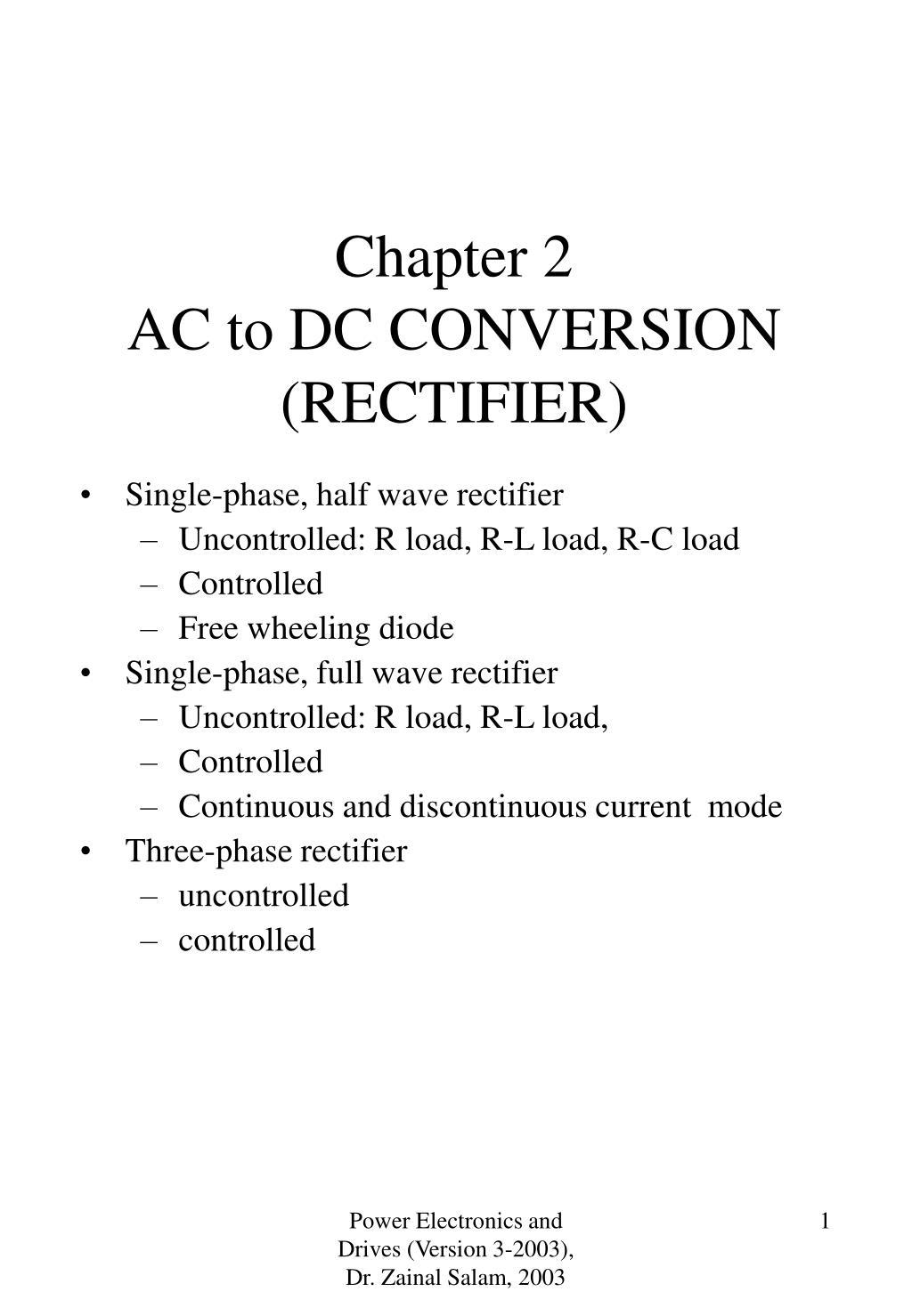 Ppt Chapter 2 Ac To Dc Conversion Rectifier Powerpoint Converter Public Circuit Using Bridge L