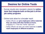 desires for online tools