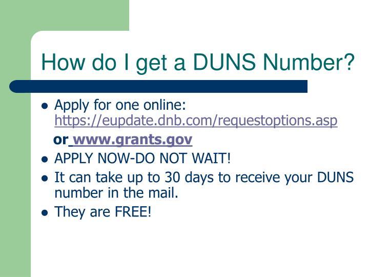 How do I get a DUNS Number?