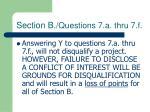 section b questions 7 a thru 7 f