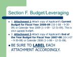 section f budget leveraging