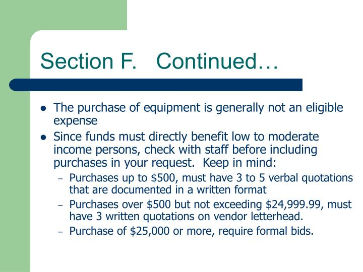 Section F.   Continued…