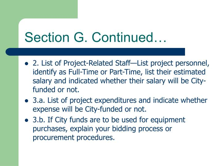 Section G. Continued…