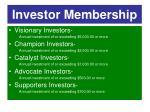 investor membership