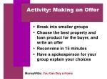 activity making an offer