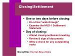 closing settlement