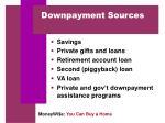 downpayment sources