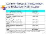 common proposal measurement and evaluation m e studies