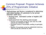 common proposal program achieves 25 of programmatic initiative