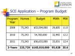 sce application program budget