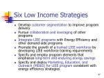 six low income strategies