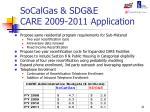 socalgas sdg e care 2009 2011 application