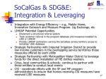 socalgas sdg e integration leveraging