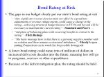 bond rating at risk