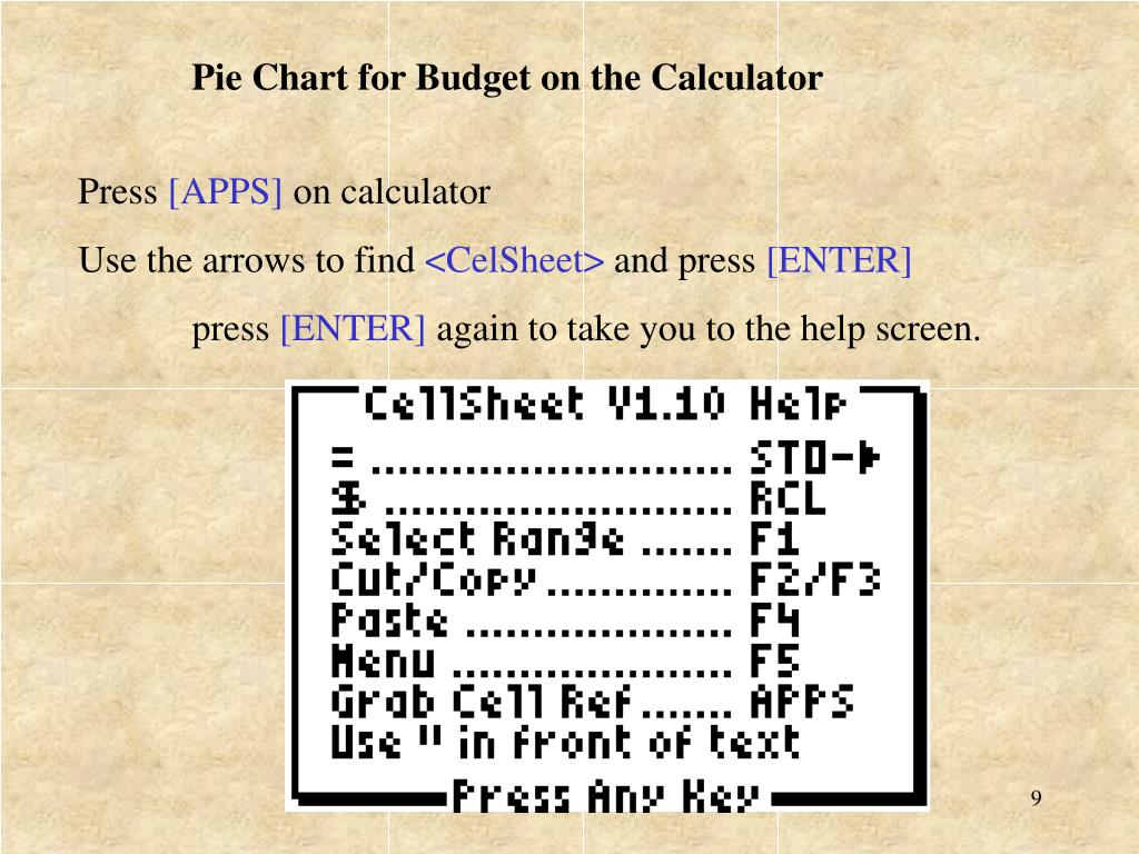Pie Chart for Budget on the Calculator