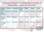 contents payments following transfer of ownership post 36 months