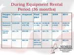 during equipment rental period 36 months