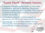 lame duck session issues
