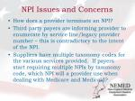 npi issues and concerns