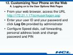 12 customizing your phone on the web a logging on to the user options web pages
