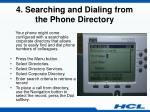 4 searching and dialing from the phone directory