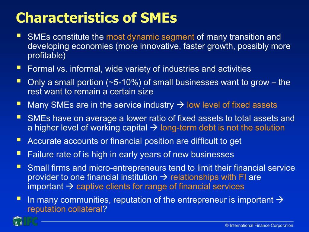 Characteristics of SMEs