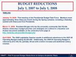 budget reductions july 1 2007 to july 1 20082