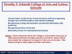 dorothy f schmidt college of arts and letters 650 000