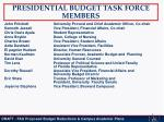presidential budget task force members