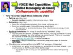 voice mail capabilities unified messaging via email college specific capability