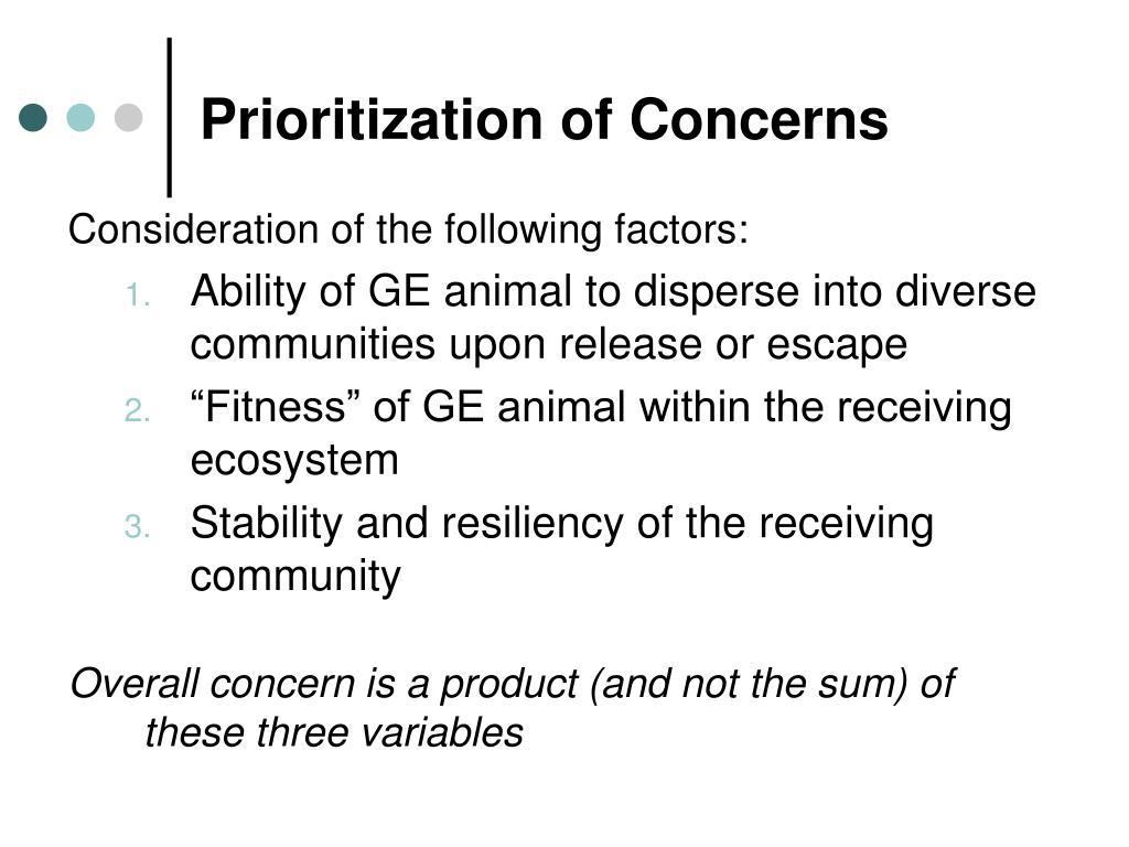 Prioritization of Concerns
