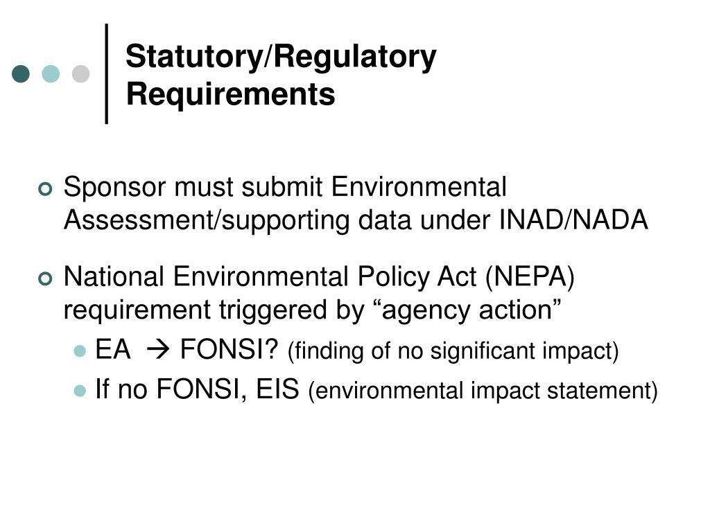 Statutory/Regulatory Requirements