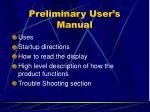 preliminary user s manual