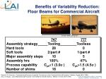 benefits of variability reduction floor beams for commercial aircraft