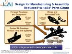 design for manufacturing assembly reduced f a 18e f parts count