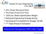 impact of lean engineering f a 18e f