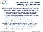 lean applies to development of many types of products