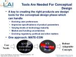 tools are needed for conceptual design