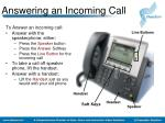 answering an incoming call