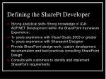 defining the sharept developer