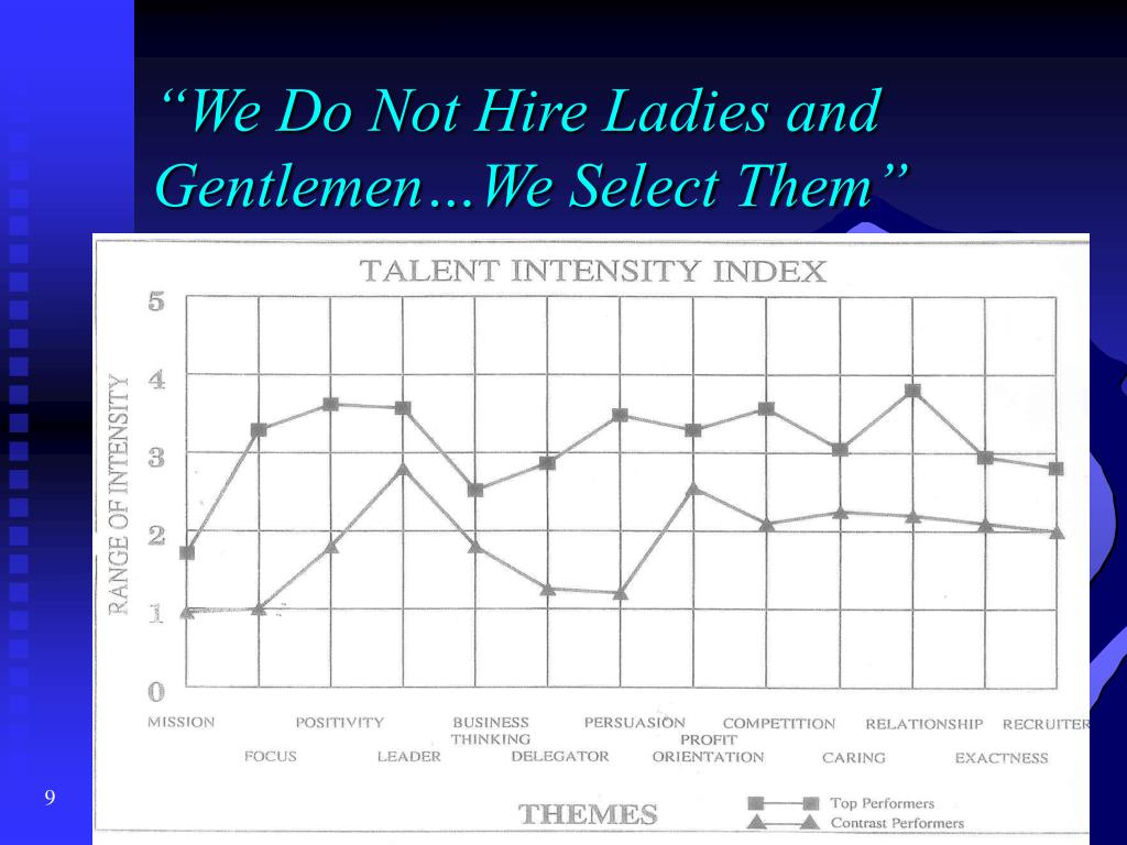 """We Do Not Hire Ladies and Gentlemen…We Select Them"""