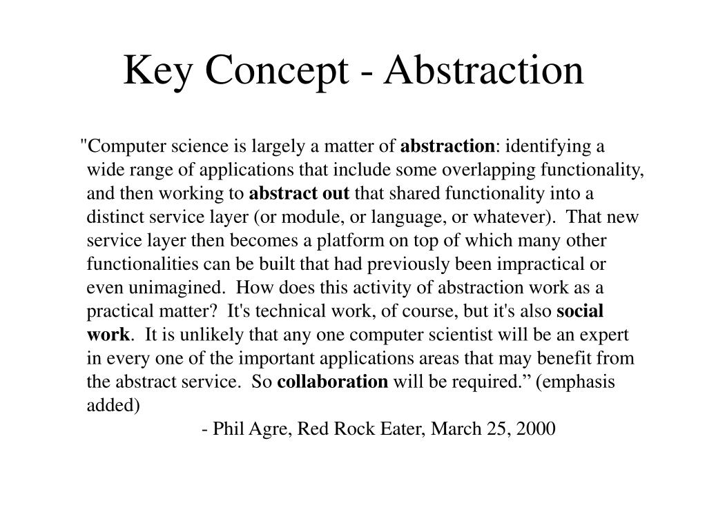 Key Concept - Abstraction
