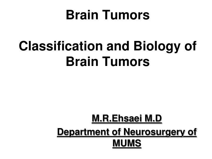 brain tumors classification and biology of brain tumors n.