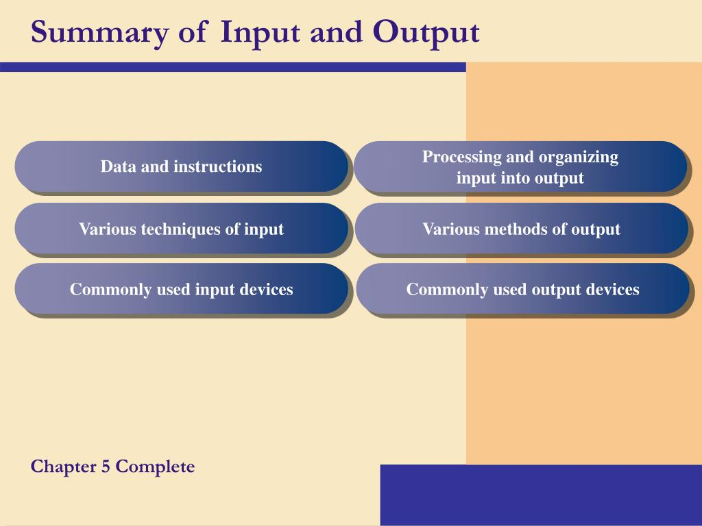 Summary of Input and