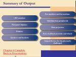 summary of output