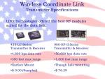 wireless coordinate link transmitter specifications1
