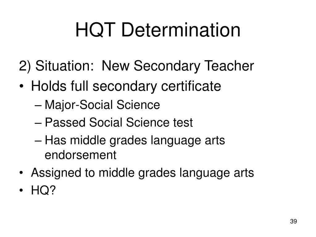 HQT Determination