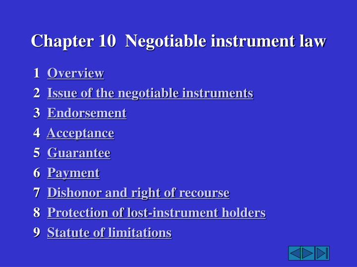 chapter 10 negotiable instrument law n.