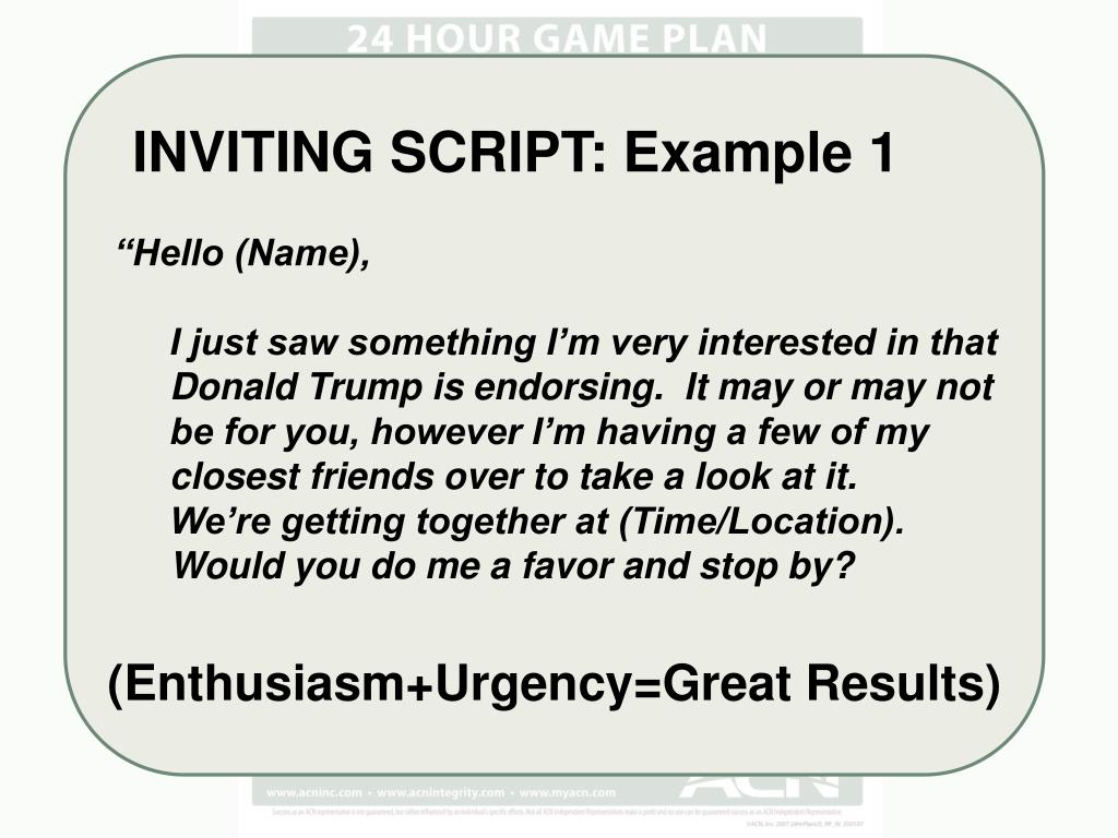 INVITING SCRIPT: Example 1