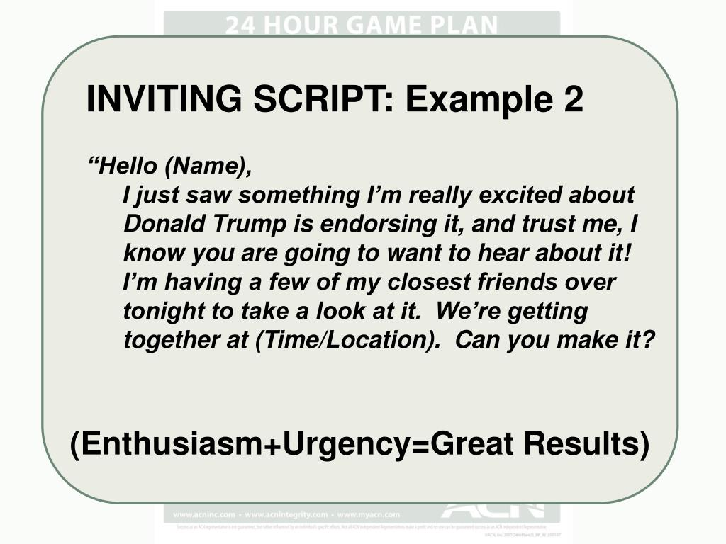INVITING SCRIPT: Example 2